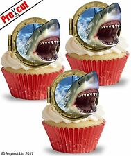 PRE-CUT SHARK II. EDIBLE WAFER PAPER CUP CAKE TOPPERS BIRTHDAY PARTY DECORATIONS