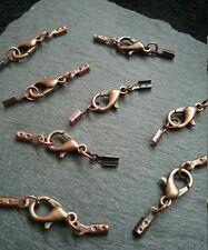 8 Sets Antique Copper 12mm Lobster Clasps & Crimp Ends for 1mm to 1.5mm Cord UK
