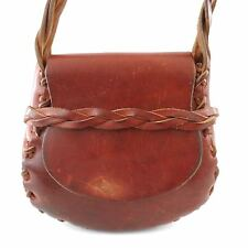 Vintage Rugged 60's Braided Thick Brown Leather Shoulder Bag Purse Hippie Boho