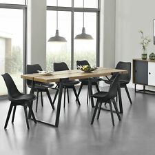 en.casa Esstisch + 6 Stühle Küchentisch Esszimmertisch Essgruppe Esszimmerstuhl