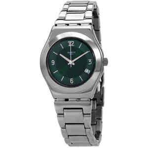 Swatch Irony Middlesteel Quartz Green Dial Ladies Watch YLS468G