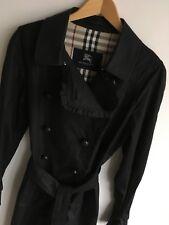 BURBERRY LONDON WOMENS M UK 14 (USA 12) BLACK TRENCH COAT JACKET RAINCOAT MAC