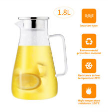 1.8L Cold Water Glass Bottle Coffee Juice Bottle Teapot Drinking Bottle Carafe