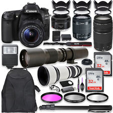 Canon EOS 80D DSLR Camera with (5) Lenses and High End Accessory Bundle