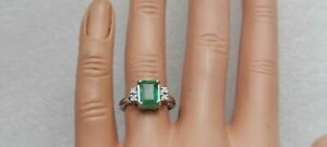 2.21Ct Natural Green Emerald And Diamond Ring 14K Solid White Gold Finish
