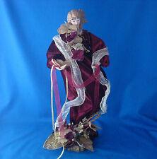 "18"" head Angel figurine burgundy velvet gold ribbon Christmas Main Joy Limited"