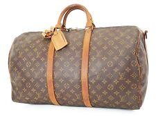 Authentic LOUIS VUITTON Keepall Bandouliere 50 Monogram Canvas Duffel Bag #37439