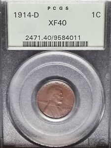1914 D Lincoln Cent PCGS XF40 Old Green Holder (OGH)