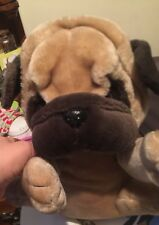 Big PLUSH PUPPY DOG STUFFED ANIMAL TOY BROWN TAN WRINKLE PUP 17 X 10 Inches
