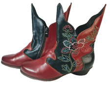 "L'ARTISTE SPRING STEP ""BRAZIL"" 39/8.5 ANKLE BOOT RED/BLACK FLORAL EMBROIDERY"