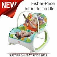 Fisher-Price Infant to Toddler Rocker Blue For Baby Washable Seat Pad Toys Bar