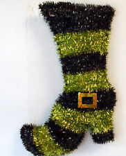 """Green Black Tinsel Witch Boot 17"""" Halloween Decor  NWT"""