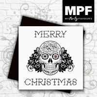 'Sugar Skull' hand made tattoo style Christmas card with gem stone eye