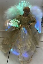 "Pre-Lit Fibre Optic Christmas Tree Top Angel Ornament 12"" Tall"