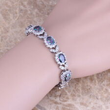 Rainbow Mystic & White Topaz 925 Silver Overlay Jewelry Bangle Charm Bracelet