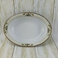 Meito China Japan Oval Serving Veggie Pasta Bowl Gold Trim Floral Hand Painted