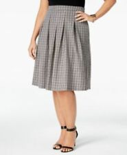 NY Collection Womens Skirt 1x Black Pleated Fit Flare Checked Plus Size New