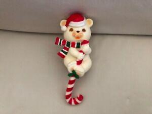 Vintage Hallmark Chritmas Hard plastic Teddy Bear W Candy Cane Stocking Holder