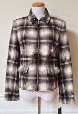 NWT RALPH LAUREN Brown Cream Plaid Wool Blend Zip-Front Jacket Coat 10 $295