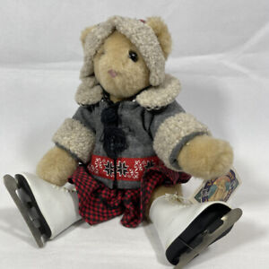 1993 VERMONT TEDDY BEAR In ICE SKATING OUTFIT Jointed Stuffed Plush TOY w/ TAG