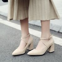 Women Pointed Toe Buckle Ankle Strap Pumps Block High Heel Solid Shoes Plus Size