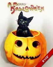 VINTAGE RETRO HALLOWEEN CANVAS ART PRINT BLACK CAT JACK O LANTERN PUMPKIN 8X10