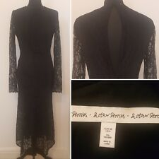 AND OTHER STORIES Black Lacy Long Dress Sz 8/10 Stretch Evening Party (17)