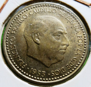 Scarce XF+  FRANCISCO FRANCO 1 peseta  1953  Stars  19 - 54 Copper