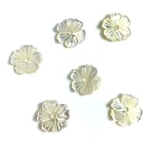2 PC Natural White MOP Shell Carved Flower 10mm - NEW DIY Bead Design Wholesale