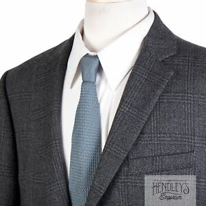 JOS A BANK 1905 Sport Coat 43L Tailored Fit Charcoal Gray Plaid Wool Tweed