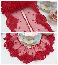 "3.5""*1Y Embroidered Floral Tulle Lace Trim~Red~Beautiful Pursuit~Costume/Sewing~"