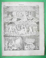TAHITI South America Natives Costume Dance Brazil Puris - 1825 Antique Print