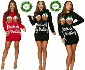 Ladies HANDS OFF MY PUDDING Retro Knitted Christmas Tunic Dress