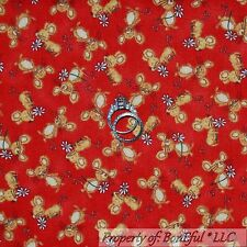 BonEful Fabric Cotton Quilt Red Brown Yellow Xmas Mouse Mice Daisy Flower SCRAP