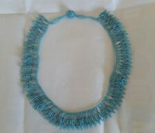 Beautiful Beaded Blue and Purple Collar Necklace Handmade