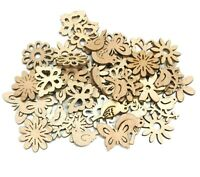 100 Holz Streuteile Blätter Streudeko für Basteln DIY Blumen Tier Mix BEST H81