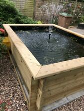 More details for 44mm tanalised log timber garden pond kits with pond liner many sizes and depths