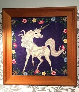 Vintage VTG Unicorn Fantasy Colorful Girls Room Needlepoint Completed Embroidery