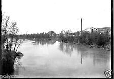 Paysage rivière usine - ancien négatif photo verre 13x18 an. 1910