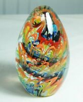 M Design Art Hand Craft Glass Bubble Rainbow Egg Paperweight NP-1025