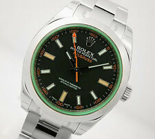 Rolex MILGAUSS 116400 Mens Steel Domed Bezel Black Dial GREEN Crystal Ring 40MM