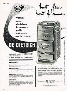 PUBLICITE ADVERTISING  1960   DE DIETRICH    poele automate PRESIDENT