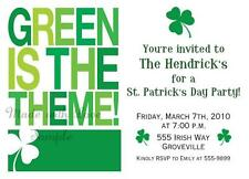 St. Patrick's Day Party Birthday Invitations Green Theme 21st 30th 40th 50th 60t