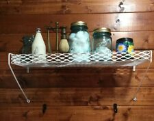 Shabby Farm House Painted White Industrial Metal Wire Shelf