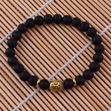 Fashion Black Matte Agate Lucky Bracelet 8MM Gold Buddha Bead Stretch Bangles