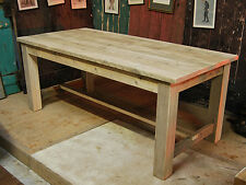 9FT DINING KITCHEN TABLE - RECLAIMED REFECTORY VINTAGE TABLE