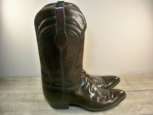 Lucchese Classics Black Cherry Leather Mens Cowboy Western Pull-On Boots Size 13