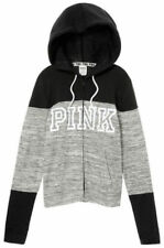 VICTORIA'S SECRET Pink Perfect Full Zip Hoodie Marl Gray Medium NWT