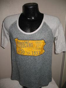 NFL Pittsburgh Steelers Football Steel City Logo Tee Shirt Top Womens Nwt