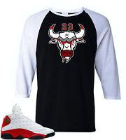 "Raglan tee to match Air Jordan Retro 13 Chicago sneakers""Bull23"" Black/White Tee"